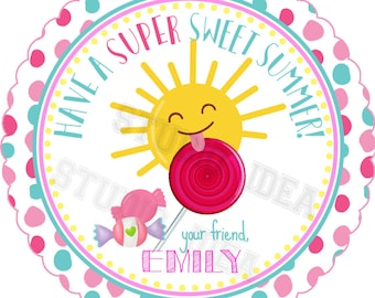 """Custom Sweet Summer Printable Tags- 2.5"""" Happy Sun & Candies Summer Tags- Personalized Scallop Circle 2.5"""" Tags-Digital file-YOU PRINT"""