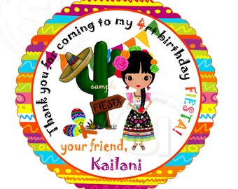 """Custom Fiesta Printable 2.5"""" Tags-Personalized Birthday 2.5 inches Tags- Stickers- DIY Colorful Fiesta Favor Tags"""
