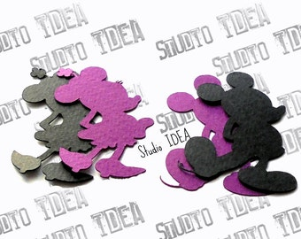 """Mickey & Minnie Silhouette 2"""", 4"""" Cut outs -Black-Purple or Choose Your Colors - Set of  30pcs, 60pcs"""