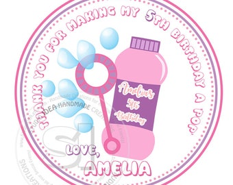 """Bubble Party Personalized Stickers-Thank you Birthday Stickers 2.5"""" Blowing Bubbles tags"""
