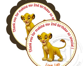"""Simba Printable 2.5"""" Tags-Personalized  Scallop or Circle 2.5 inches Tags- Stickers, DIY (You Print) 2.5"""" Thank you Tags"""
