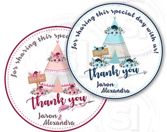 "Custom Printable Teepee Theme Baby Shower Tags- Boy or Girl Baby Shower Thank you 2.5"" Tag- DIY Personalized tags-Digital File"