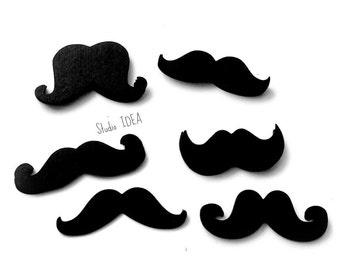 """Mixed Styles 2"""" Black Moustache Cut outs, Confetti - Set of 60pcs, 120pcs, 250pcs"""