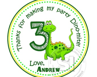 """Custom cute Dinosaur Printable 2.5"""" Tags-Personalized Thank you Birthday 2.5 inches Tags- Stickers,DIY Digital File-Party Favor Tags"""