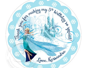"""Custom Frozen Printable Tags-Toppers Elsa Frozen Personalized Tags, DIY (You Print) 2.5"""" Thank you Tags-Royal Toppers-Digital File"""