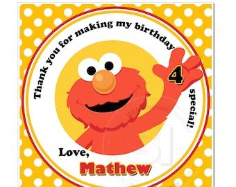 "Custom Elmo Thank you Square Tags- 2.5"" Printable Elmo, Sesame Street Tags- Personalized Baby Shower, Birthday Thank you Tags- Digital file"