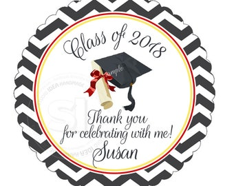 "Custom Graduation Printable Tag- 2.5"" Printable Graduation Thank you Tags-Chevron Background Graduation Tags- Digital file"