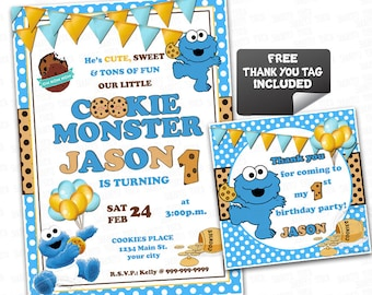 Cookie Monster Printable Invitation- Personalized Baby Cookie Monster Invitation-Sesame Street Birthday  with FREE Thank you Tag