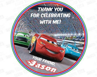 """Customized Disney Cars 3 Printable Tags-Personalized Tags, DIY (You Print) 2.5"""" Thank you Tags"""