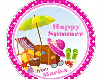 "Custom Happy Summer Printable Tags- 2.5"" Summer Tags- Personalized Summer Holidays Printable Circle 2.5"" Tags-Digital file-YOU PRINT"