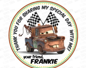 """Customized Disney Cars 3- Tow Mater Printable Tags-Personalized Tags, DIY (You Print) 2.5"""" Thank you Tags"""