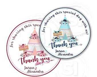"Custom Stickers Baby Shower Thank you Teepee Theme Stickers-tags- It's a Boy or Girl Thank you 2.5"" Stickers"
