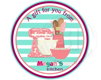 """Personalized Kitchen Utensils Printable 2.5"""" Tags-Baking Tags- Customized Tags, DIY (You Print) 2.5"""" tags-Digital file"""