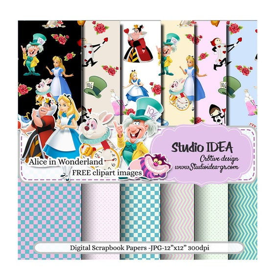 Alice In Wonderland Digital Scrapbooking Paper 12 X12 300dpi Free Clipart Images Included Digital Design Paper Instant Download By Studio Idea Catch My Party