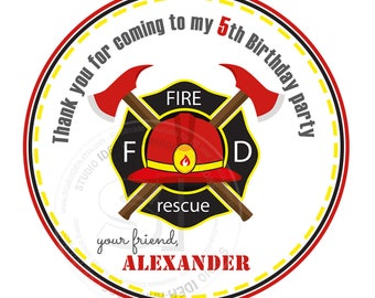 """Custom Fireman Badge Birthday Printable 2.5"""" Tags- Firemen Party D.I.Y Thank you Tags-Stickers (You Print) 2.5"""" tags-Digital file"""