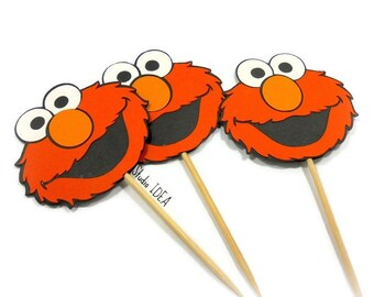 "2.5"" Elmo Cupcake Toppers-Food Picks-Orange, Black Elmo Head Toppers-or Choose Your Colors-Set of 12pcs, 24pcs"