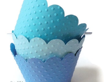 Mixed Blue Polka Dots Embossed Cupcake Wrappers, Liners, Table Decoration-Set of 12 pcs