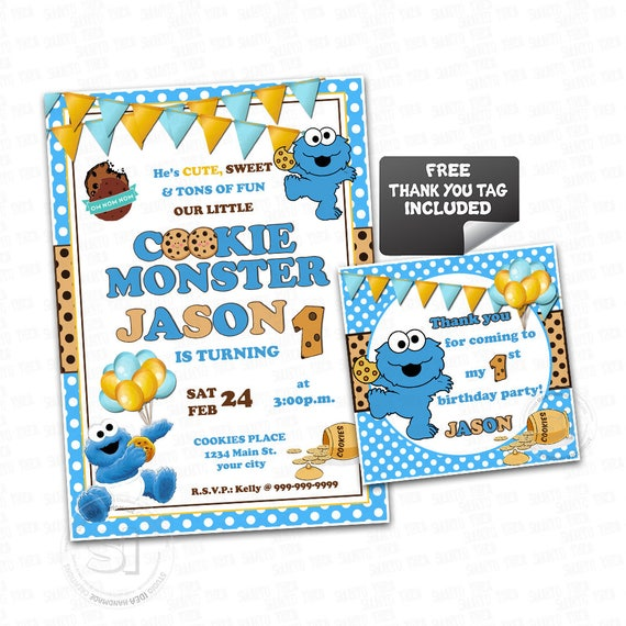 Cookie Monster Printable Invitation Personalized Baby