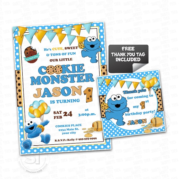 image regarding Cookie Monster Printable identified as Cookie Monster Printable Invitation- Custom made Little one