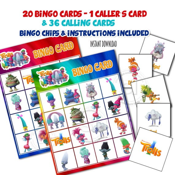 graphic regarding Printable Bingo Calling Cards named Trolls Bingo Printable Recreation-20 alternative playing cards-36 Getting in touch with
