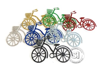 Glitter Bicycle Cut-outs, Embellishments - Choose Your Colors