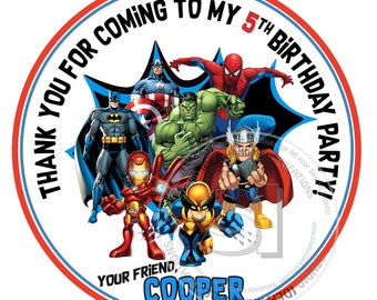 "Custom Superheroes Stickers-Thank you Birthday 2.5"" STICKERS-Superheroes 2.5"" round Stickers"