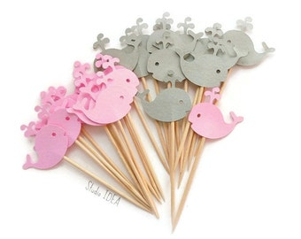 Mixed Grey & Light Pink Baby Whale Cupcake Toppers, Food Picks-Set of 12pcs, 24pcs