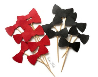 """Red & Black 2"""" Double sided Bowtie Cupcake Toppers, Food Picks-or Choose Your Colors"""