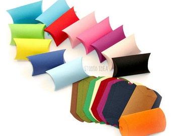 15 Pillow Boxes-Candy Box, Favor Box, Gift Box-CHOOSE YOUR COLORS-Set of 15pcs