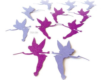 Mixed Purple Tinkerbell Confetti, Cut outs, Die cut - Set of 60 pcs - or Choose Your Colors