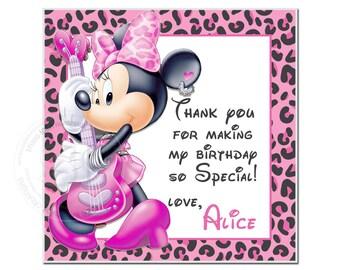 "Custom Minnie Printable Tags-Personalized Square 2.5"" Tags, DIY (You Print)-Thank you Custom Printable Minnie Rock Star Tags"