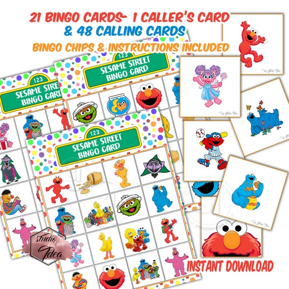 picture regarding Bingo Chips Printable identify Sesame Highway Bingo Printable Activity-21 alternative playing cards-48