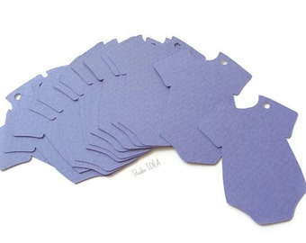 """2.5"""" Lavender Baby Onesie Tags, Die cuts, Cut outs - Gift Tags, Favor Tags, Label -Set of 30pcs, 60pcs"""