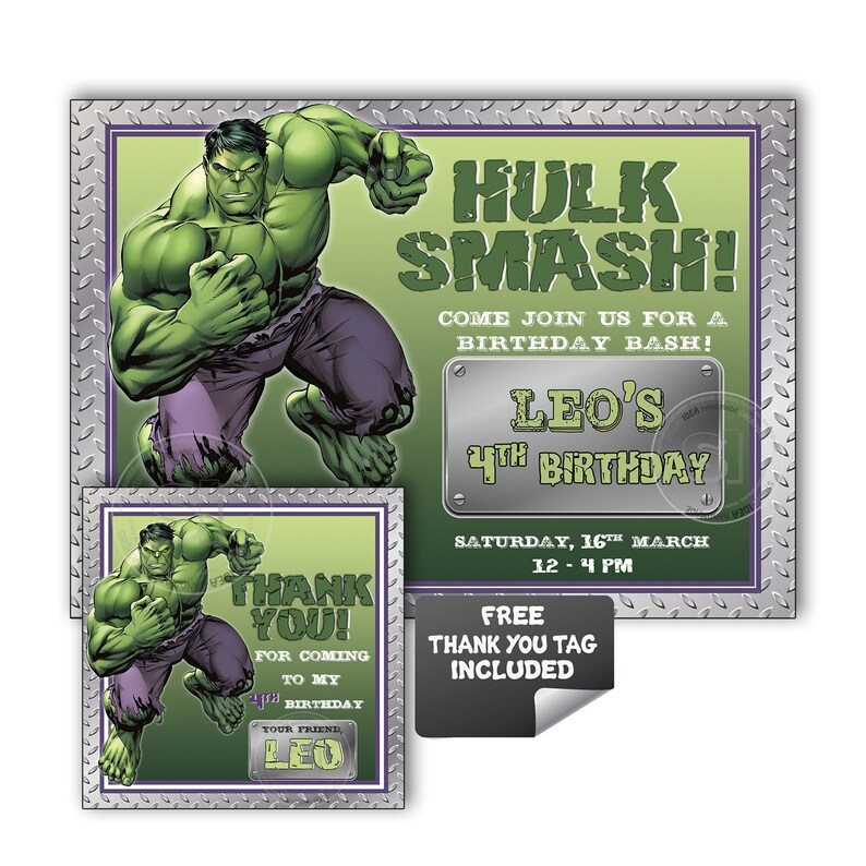 Hulk Party Printable Invitation With FREE Thank You Tag DIY