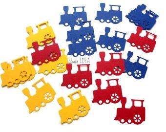 """Primary Colors 2"""" Train Cut outs, Die cut, Confetti, Embellishments or CHOOSE YOUR COLORS - Set of 40pcs, 80pcs, 120pcs"""