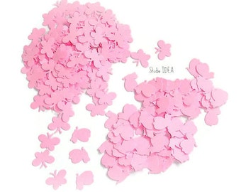 200  Pink  mini Butterfly- 2 shape Confetti, Cut-outs, or Choose your Colors- Set of 200 pcs