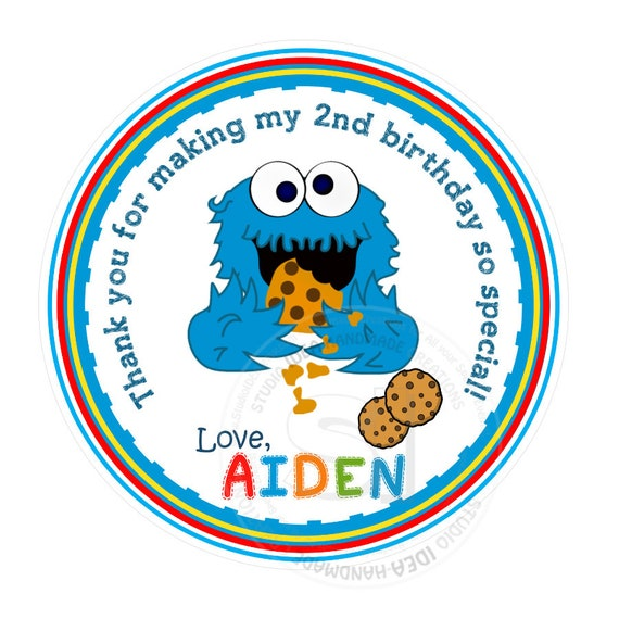 Custom Baby Cookie Monster Thank You Tags 2 5 Or 2 Printable Sesame Street Tags Personalized Birthday Thank You Tags Digital File