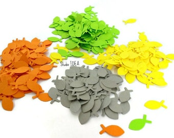 200  Mixed Lime Green, Yellow, Orange & Grey small Fish Confetti, Cut-outs, or Choose your Colors- Set of 200 pcs