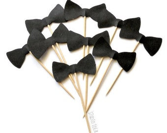 "2"" Black Bowtie Double sided Cupcake Toppers _Style B_ Food Picks-or Choose Your Colors-Set of 12pcs, 24pcs"