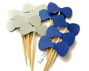 """Blue & Grey 2"""" Bowtie Cupcake Toppers, Food Picks-or Choose Your Colors"""