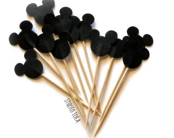 24  Black Mickey Head double-sided Cupcake Toppers, Food Picks or CHOOSE YOUR COLORS - Set of 24 pcs