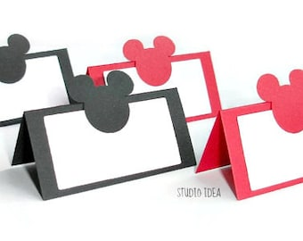12 Mixed Black & Red Mickey Head Place Cards - Tent Style, Table Decoration-Set of 12 pcs