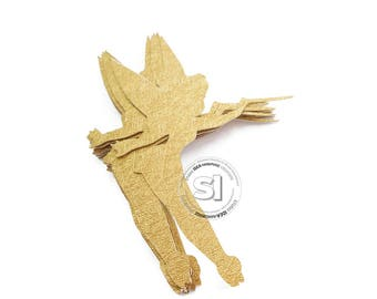 Gold Tinkerbell 4 inches tall Cut outs, Die cut- Luxury Gold cardpaper Tinkerbell cut outs