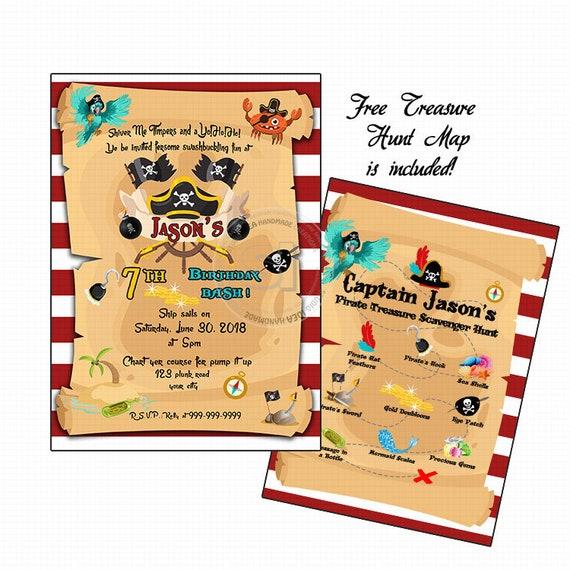 Custom Pirates Birthday Party Printable Invitation With