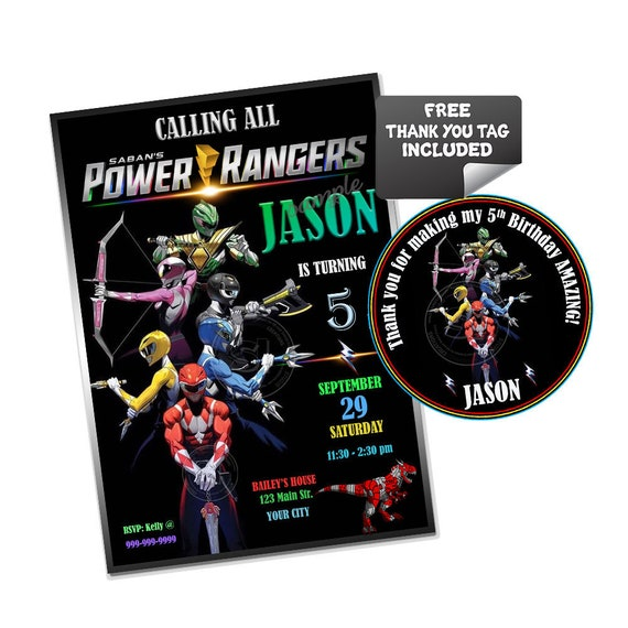 Power Rangers Party Printable Invitation With FREE Thank You Tag DIY Digital File Go Birthday Print