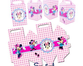 Customized Minnie Printable Favor Box-Personalized box with Tag and Minnie Images, DIY (You Print)-Minnie Candies Box