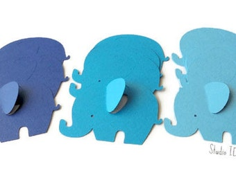 12 Mixed Blue Extra Large Elephant Cut outs, Die cuts - Set of 12 pcs