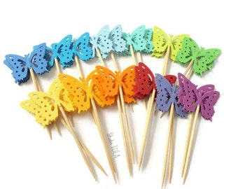 Double sided Rainbow Assorted Monarch Butterfly Cupcake Toppers, Food Picks-Set of 12pcs, 24 pcs