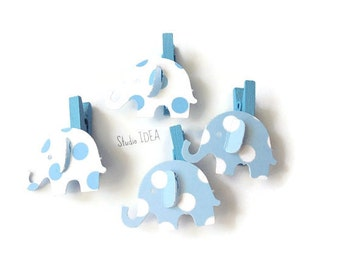 Set of 12 Blue-White polka dots  Mini Clothespins with Elephant Embellishment, Favor Tags, Gift Tags - Set of 12 pcs