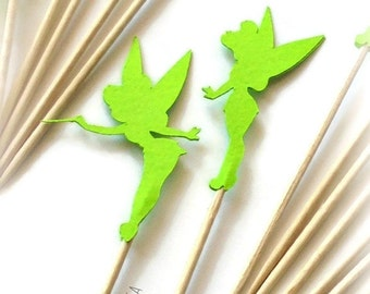 24 Green Tinkerbell Food Picks, Cupcake Toppers - Set of 24 pcs - or Choose Your Colors